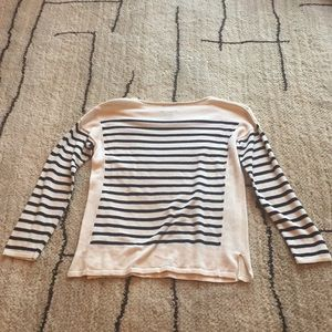 """Chaps Sweaters - CHAPS """"Classic Petite"""" white with blue stripes."""